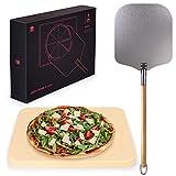 Blumtal Pizzastein Gasgrill & Pizzasschieber - Pizzastein aus Cordierit für Backofen, Grill Steinofen Backstein, rechteckig