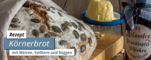 Aromatisches Körnerbrot mit Weizen, Vollkorn und Roggen